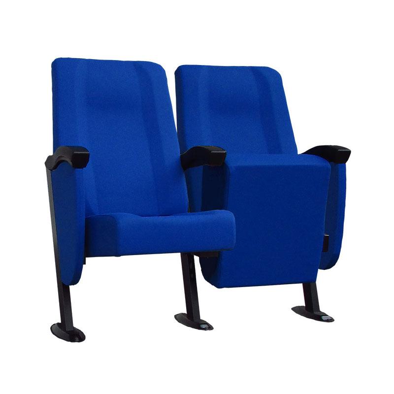 Fauteuil Cinéma Simplex 1-2 structure assise et dossier en bois d'hêtre stratifié, rembourrés et tapissés. L'assise est relevable par gravité. Housse assise avec fermeture éclair. Cotés en bois d'hêtre stratifié, rembourrés et tapissés avec revêtements non feu.